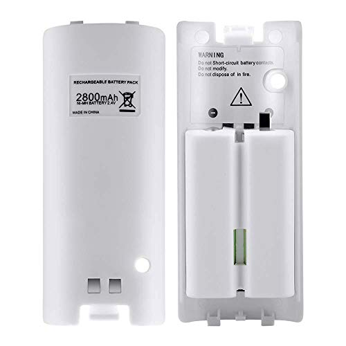 NIFERY Wii Remote Batteries Rechargeable, 2 Pack 2800mAh Rechargeable Batteries for Wii/Wii U Remote Controller (White)