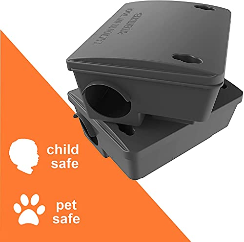 Rat Bait Stations - 2 Pack, Weather and Tamper-Resistant for Indoor & Outdoor Rodent Control, Refillable w/ 2 Locks and Key, Cruelty-Free Alternative to Rat & Mouse Traps - Safe for Kids and Pets!