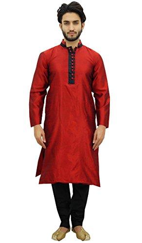 Atasi Conjunto de Pijama Kurta de para Hombre. Camisa de Bollywood etnica de Dupon Marron-XX-Large