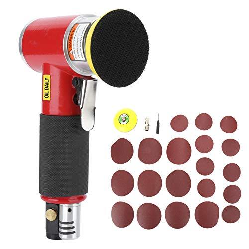 Pulidora de baja tasa de vibración 9,8x16,5 cm Pulidora neumática Máquina lijadora Lijadora de aire para áreas de enfoque de lijado puntual(2-3 inch eccentric red +10pcs sandpaper)