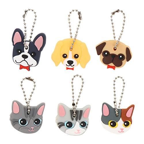 KESYOO 6 tapas para llaves que incluye matrícula de perro y gato con animales, llavero, monedero, adorno para fiestas, color aleatorio