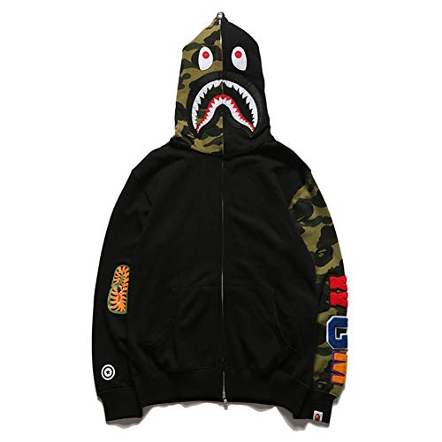 yur67 Men's Tide Bape Brand Camouflage Sleeve Print Thin Sweater Casual Personality Hoodie Jacket