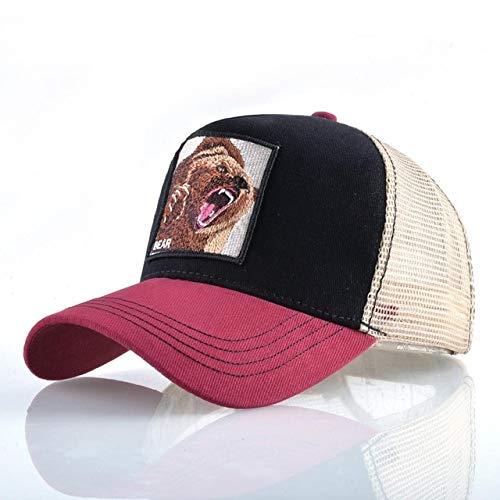 Baseball Caps Hip Hop Hats Men Snapback Breathable Mesh Fashion Streetwear Trucker Cap Women-Red2 Bear-56-59cm