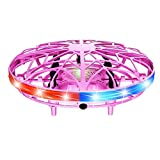 OIUT Drones for Kids, Hand Operated Mini Drone Child Kids Drone with Led Lights, Levitation Flying Ball Drone Toy 360 Rotating Helicopter for Boys Girls Adult Gift Indoor Outdoor (Pink)