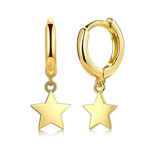 14K Gold Plated Dangle Hoop Earrings, Sterling Silver Post Drop Hoops | Small Hypoallergenic Huggie Earrings | Dainty Sun Moon Star Earrings