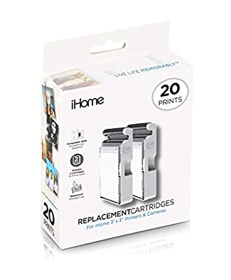 iHome 2-Pack of 3x3 Inch Ink+Square Paper Cartridge (20 Prints Total) (IHC33-20) by iHome