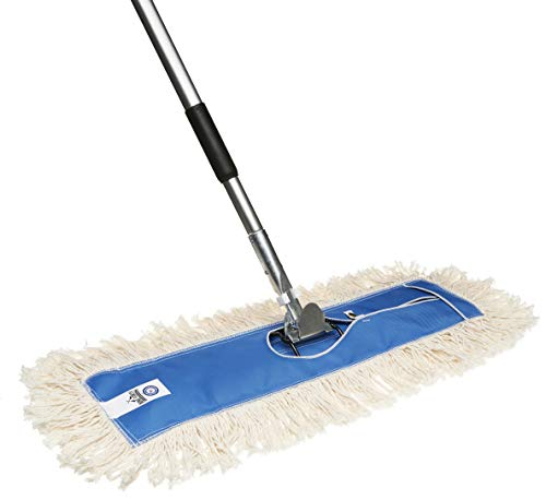 Nine Forty USA 24 Inch Commercial Cotton Dry Dust Mop Head Hardwood Floor Duster Broom Set | Handle
