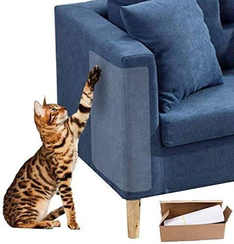 WELLXUNK 4 Piezas Gato Protector de arañazos para Muebles con 20 Tornillos,Protector de sofá para Mascotas Evitar Que los Gatos rasguñen los Muebles Evite el rasguño del cojín del sofá