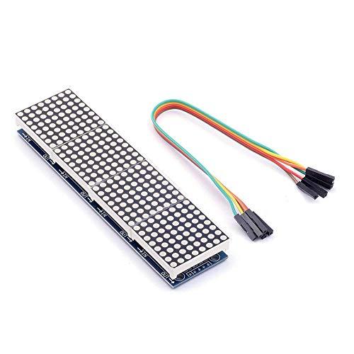 HiLetgo MAX7219 LED Dot Matrix Module LED Dot Matrix Microcontroller for Arduino 4 in 1 LED Display with Dupont Wires