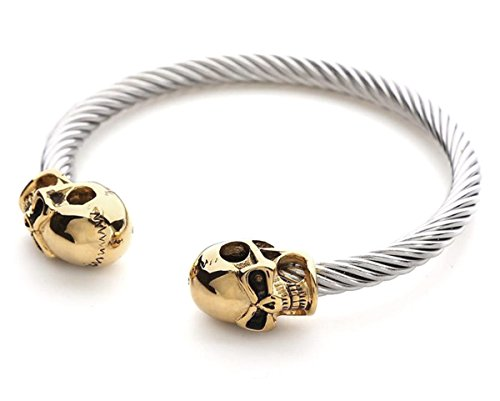 2LIVEfor Armreif Silber Gold Armreif Totenkopf Vergoldet Reif aus Edelstahl Armband Schädel Armreif Gedreht Breit Punk Armband gothic