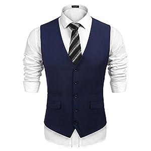 COOFANDY Men's Business Suit Vest,Slim Fit Skinny Wedding Waistcoat