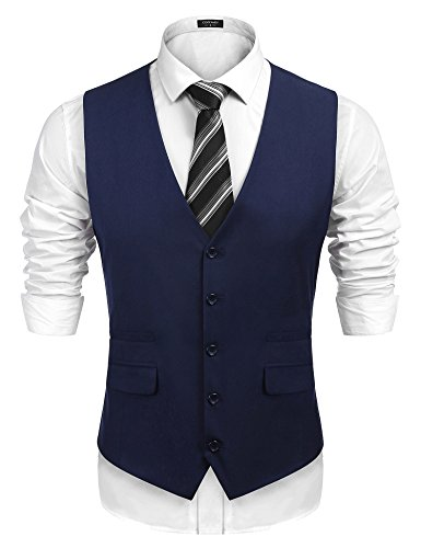 COOFANDY Men's Business Suit Vest,Slim Fit Formal Skinny Wedding Waistcoat,Navy Blue,Small