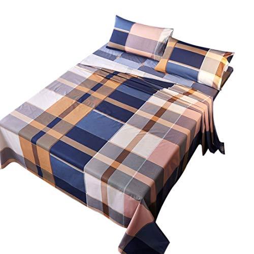 YeVhear - Juego de sábanas de 4 piezas, 100% algodón, sábana bajera ajustable y 2 fundas de almohada reina tamaño # 2