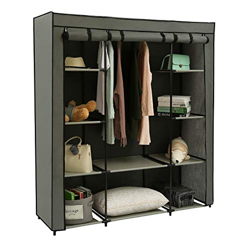 """Uclet Portable Clothes Armoire Wardrobe Closets Cloth Rack Cabinet for Hanging 10 Shelves Garment Storage Shelf Organizer Non-Woven Fabric for Bedroom Entryway Living Room Grey 5905"""" x1772"""" x 654"""""""