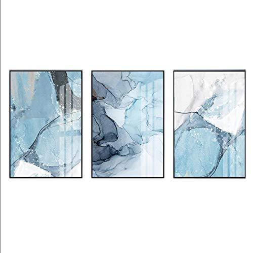 WANGXIAO Impresión HD Moderna Textura de mármol Azul Abstracto Pinturas en Lienzo Imágenes Carteles e Impresiones para la Sala de Estar Oficina Decoración del hogar (30x40cm × 3pcs) Sin Marco
