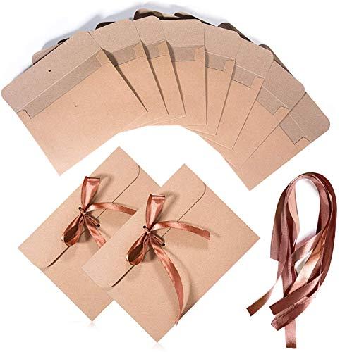 BESLIME Vintage Kraft Cinta Sobres - Vintage Kraft Cinta Sobres Regalo Sobres,con Cinta Marrón, Regalo Sobres para Invitaciones, Bodas, Navidad,17.3cm x 12.5cm,50 pcs