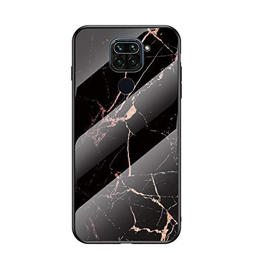 BeyondTop Funda para Xiaomi Redmi Note 9/Redmi 10X 4G Marmol Case Tapa Trasera de Cristal Templado con TPU Edge Carcasa para Xiaomi Redmi Note 9/Redmi 10X 4G (Oro Negro)