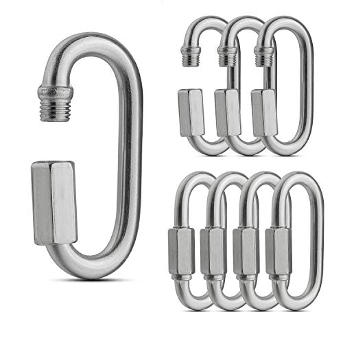 ASelected 8 Pack Threaded Quick Link, Stainless Steel Oval Locking Carabiner Clip, Tow Chain Quick Links, 1/4 Inch Diameter Rope Connector for Trailer, Swing, Hammocks, Cable, Camping-620Lbs Capacity