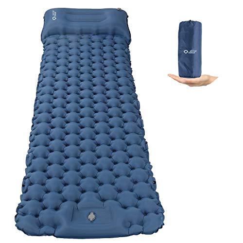 Isomatte Camping Selbstaufblasbare mit Fußpresse Pumpe, Memory Foam Kissen Campingmatratze 195*65*8cm Ultraleichte Schlafmatte Feuchtigkeitsbeständige für Wandern, Reisen, Backpacking und Strand