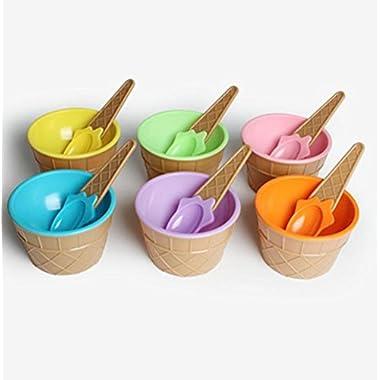 ღ Ninasill ღ Exclusive Ice Cream Bowl With A Spoon (6PC Multicolor, 9.8 X 7 cm)