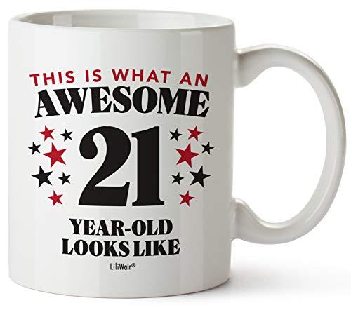 Taza de café con texto en inglés'21st Birthday'