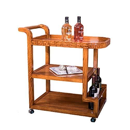 YY Sirviendo carro de la carretilla, estante del vino de la compra servir carrito con ruedas con capacidad for almacenar barra de la cocina de la sala 3 Niveles Vino té Cerveza titular estantes de mad
