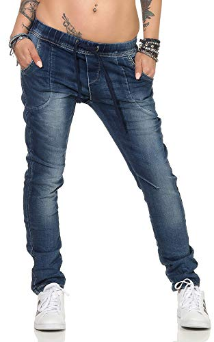 Fashion4Young 3888 Damen Jeans Hose Boyfriend Haremsjeans Haremsstyle Röhre Damenjeans Pants (XS=34, Blau)