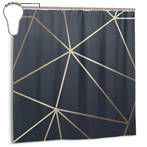 Zara Duschvorhang, schimmernd, metallisch, marineblau, goldfarben, für Badezimmer, wasserdicht, Polyester, mit Metallhaken, 183 x 183 cm