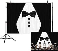 新しい7x5フット紳士007ジェームズボンドのテーマBakcrop黒と白のスーツネクタイ写真の背景男性用ベビーシャワーパーティー用品1歳の誕生日バプテスマフォトブースの小道具