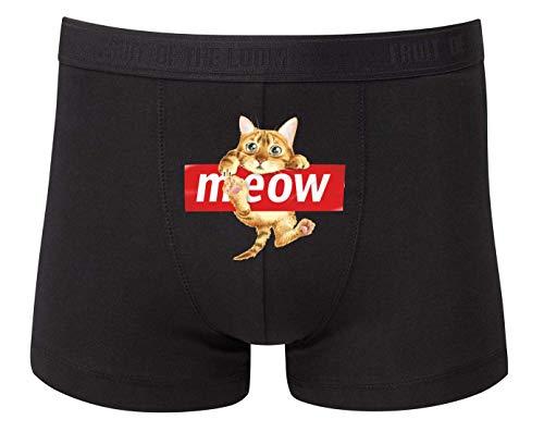 Druckerlebnis24 Boxershort - Meow Katze Haustier Niedlich - Unterhose für Herren und Männer