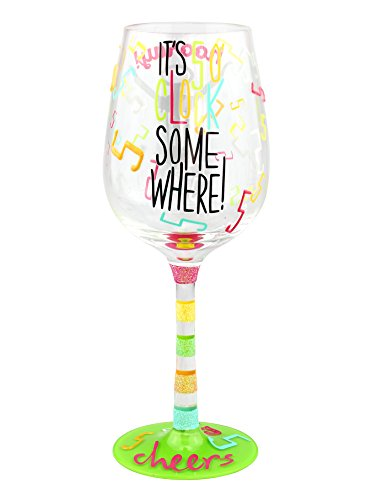 """Top Shelf Multicolor """"It's 5 O'clock Somewhere"""" Wine Glass ; Funny Gift Ideas for Wine Lovers ; Decorative Red or White Wine Glass ; Hand Painted"""