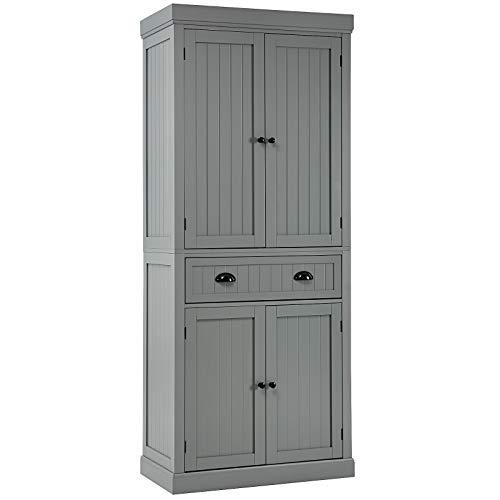 Tangkula 72  H Freestanding Kitchen Pantry Cupboard Cabinet, Traditional Elegant Design, w Adjustable Shelves, 2-Door Floor Utility Storage Cabinet for Living Room Kitchen Hallway (Grey)