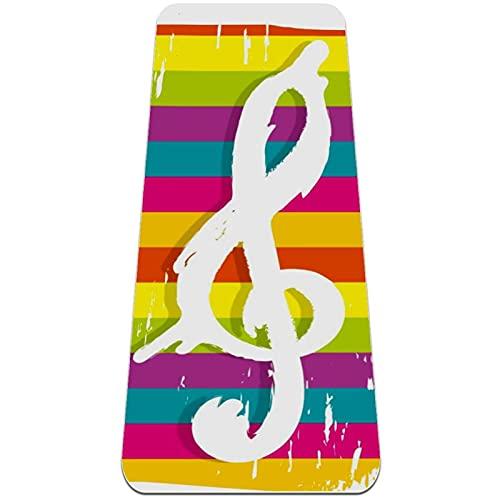 Tecla de Nota de Rayas Esterilla de Yoga TPE Lindo tapete Antideslizante para el Suelo con Bolsa para Mujeres Hombres niños Adultos 183x61cmx0.6cm