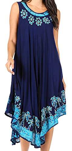 Sakkas 40SE Sundari Kaftan-Behälter-Kleid/Cover Up - Navy/Türkis - One Size