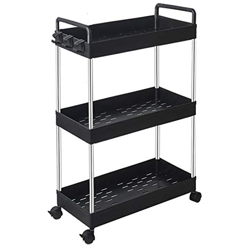 SOLEJAZZ Rolling Storage Cart 3-Tier Mobile Shelving Unit Bathroom Carts with Handle for Kitchen Bathroom Laundry RoomBlack