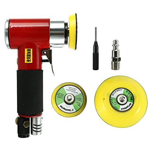 FreeTec Excenterschuurmachine, perslucht, hoekslijper, mini polijstmachine, slijpmachine met 50 mm en 75 mm slijpschijf