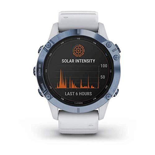 Garmin Fenix 6 Pro Solar Smartwatch Steinweiß/Blau Titan 010-02410-19