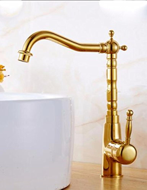 Gyps Faucet Waschtisch-Einhebelmischer Waschtischarmatur BadarmaturDie Titan verGoldete Kupfer antiken europischen Stil Küche Wasserhahn Schüssel Waschbecken Wasserhahn Warmes und Kaltes voll KU