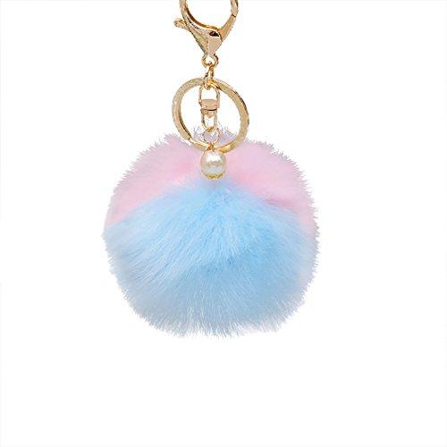 Billty Schlüsselanhänger aus Kunstfell, Kaninchenfell, Handtaschen-Anhänger für Damen, Herren, Souvenir, Geburtstagsgeschenk, Kunstpelz, Blau/Pink, 7cm