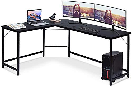 Costway Bureau/Table Informatique,Bureau/Table d'Angle Ordinateur Coin en Bois et Métal avec 6 Pieds Réglables 168 x 125 x 74CM (Noir)
