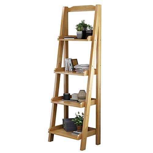 Boekenplank display plank 4 Lagen Een Rack Houten Ladder Boekenplank Multifunctioneel Magazijnstelling Scherm Ladder Boekenplank Stelling Opslag Rek For Kantoor Aan Huis Woondecoratie