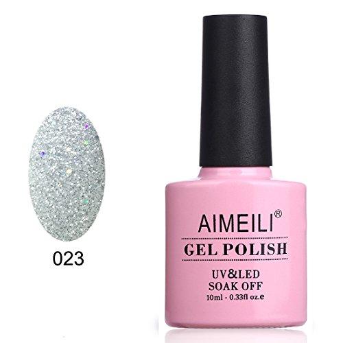 AIMEILI Smalto Semipermente per Unghie in Gel UV LED Smalti per Unghie Colori per Manicure Argento - Silver Glitter Explosion (023) 10ml