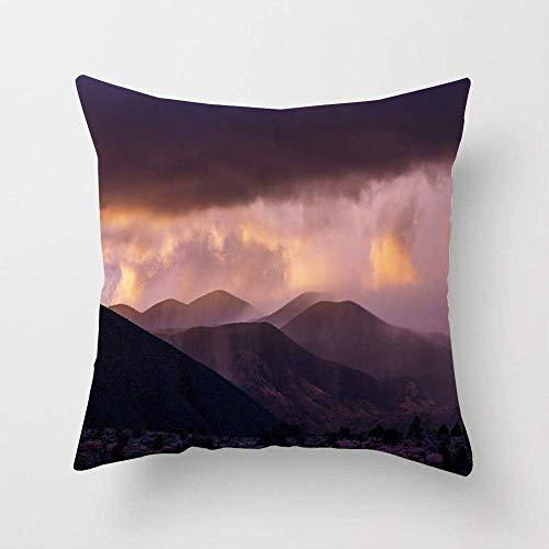 N\A Cloudscape Amerika Regen Berge Natur Alaska Parks Schatten American Black Clouds Cumulus Design Kissenbezug Quadrat Kissen Kissenbezug für Bett Sofa