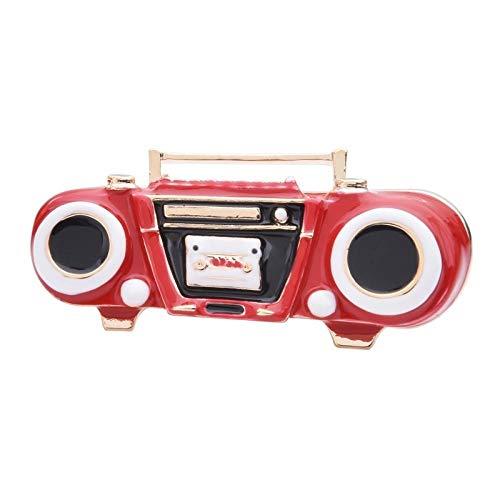 kliy Schmuck Emaille Rot Blau Blockflöte Broschen Frauen Legierung Retro Sound Radio Tape Diktiergerät Brosche Pins Neujahr Geschenke-A