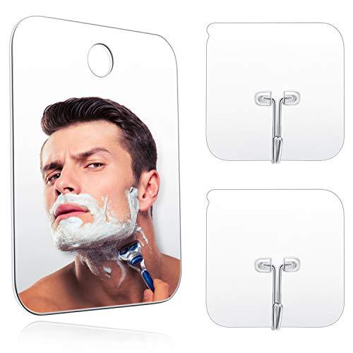 Blulu Espejo de Ducha Espejo Ativaho Maquillaje de Afeitar Espejo Ligero sin Marco con 2 Ganchos Pegajosos, 6.8 x 5.2 Pulgadas