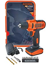 Black+Decker 12V 1.5Ah 900 RPM Cordless Drill Driver with 13 Pieces Bits in Kitbox For Drilling and Fastening, Orange/Black - LD12SP-B5, 2 Years Warranty