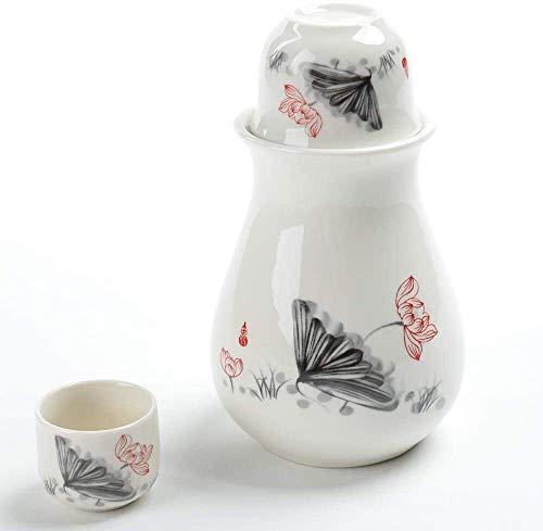Juego de Sake Japones Potes de té, conjunto de sake japonés, conjunto de 4 piezas Tazas de cerámica de textura de glaseado blanco, copas de vino artesanales, para...