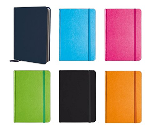 B-THERE Personal Notebook Set (6 Notebooks Total) 5.8' X 8.3' Lined Pages, Stationery Notepads W Textured Colored Covers, Elastic Band And Ribbon Bookmarks