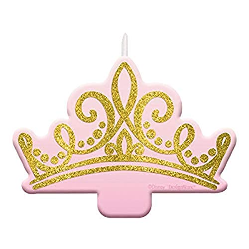 'Disney Princess' Pink and Glitter Gold Birthday Candle, 2.5' x 3.5'