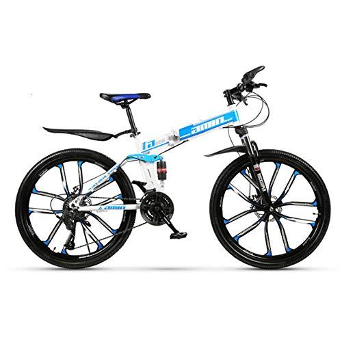Mgcdd-Car Organizer Bicicleta de montaña Turno, Bicicleta de montaña de 24 Pulgadas doblado, amortiguación Doble Frenos de Disco, Rueda de la Bicicleta de montaña 10